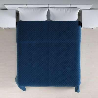 Sengeteppe quiltet<br/>i rombe i velour 704-29 Mørkeblå Kolleksjon Velvet