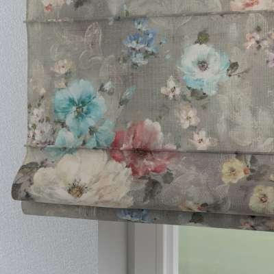 Roleta rzymska Torino 137-81 niebieskie i różowe kwiaty na szarym tle Kolekcja Flowers