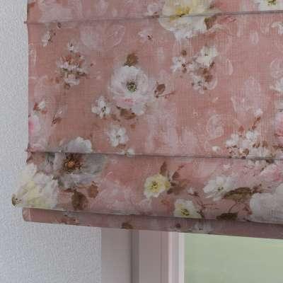 Rímska roleta Torino 137-83 krémove a ružové kvety na tmavo ružovom podklade Kolekcia Flowers