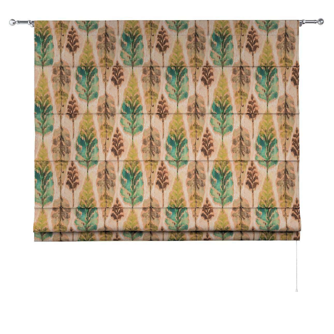 Torino Slot Roman Blind Green And Brown Leaves On Beige