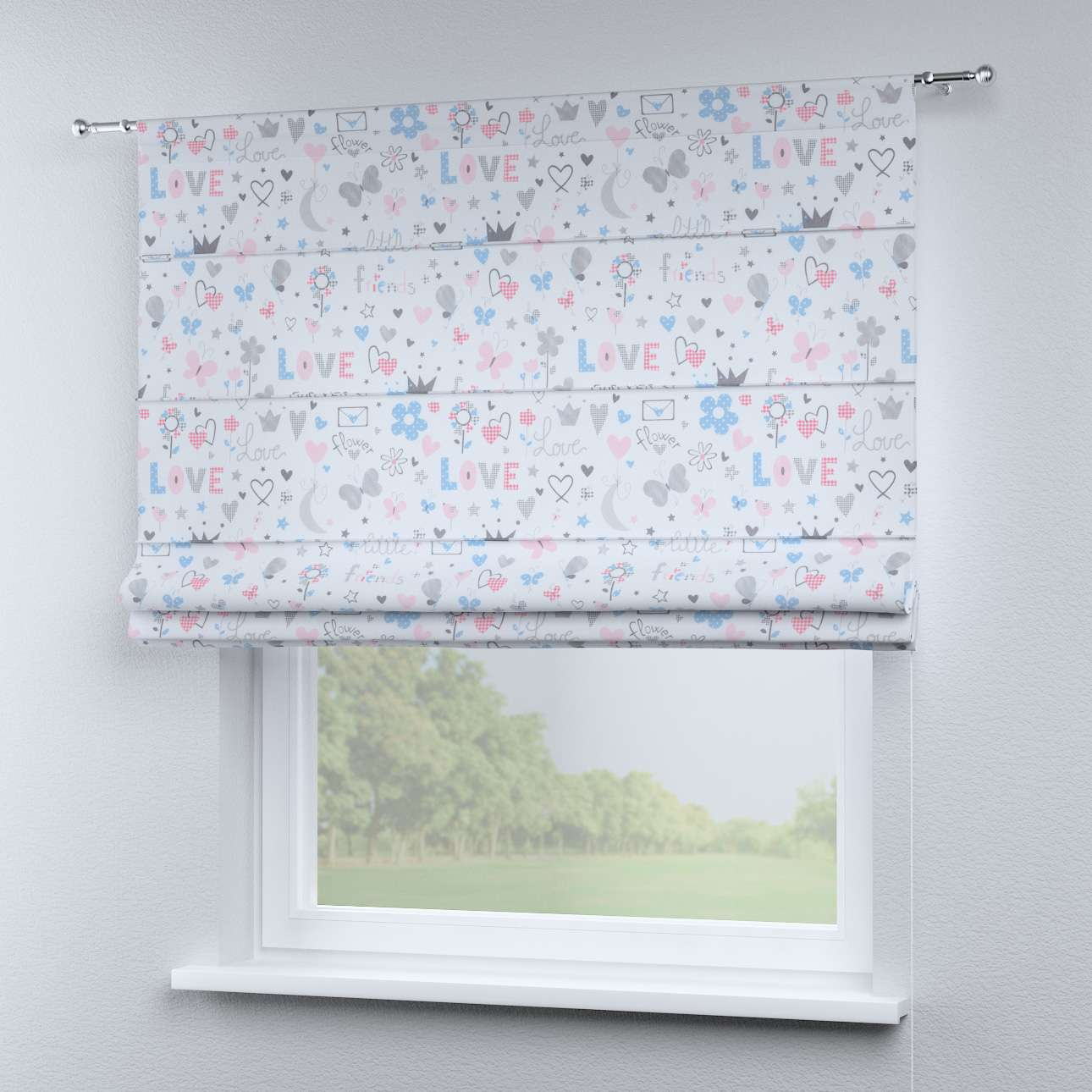 Torino Slot Roman Blind Grey Pink And Blue Pattern On