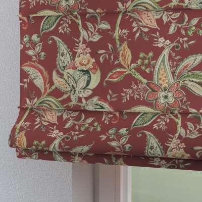 Roleta rzymska Torino 142-12 wzory roślinne i kwiatowe na czerwono-ceglanym tle Kolekcja Gardenia