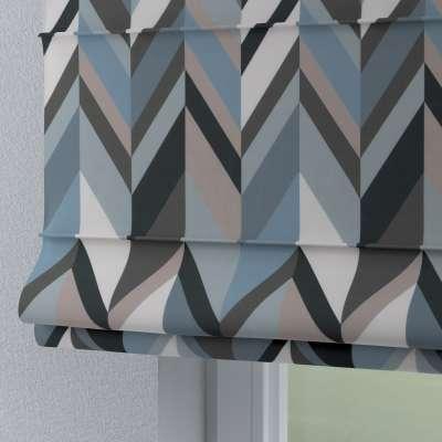 Roleta rzymska Torino 143-54 geometryczny wzór w niebiesko-beżowej kolorystyce Kolekcja Vintage 70's
