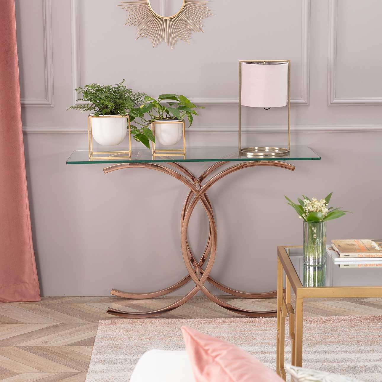 Sidetable Chica rose gold 128x40x79cm
