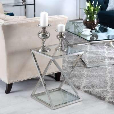 Beistelltisch Shiraz silver 40x40x56cm Nachttische - Dekoria.de