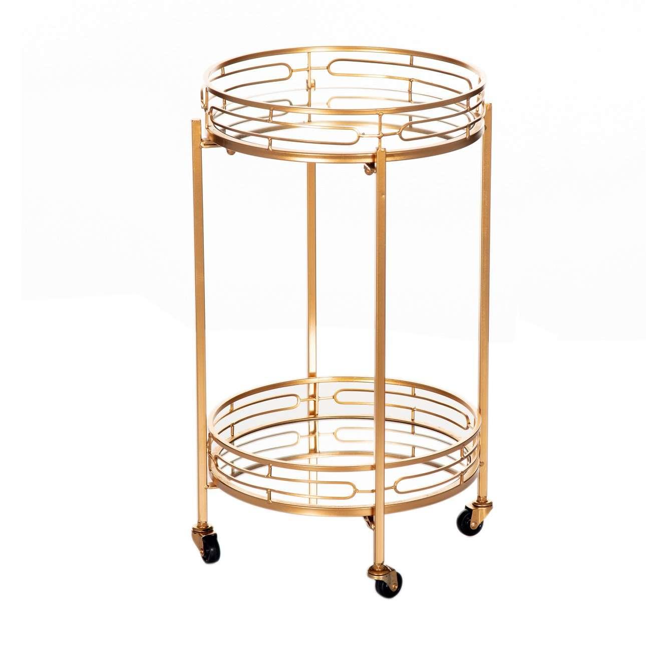Pojízdný servírovací stolek Trini gold výška 68cm