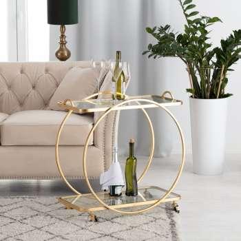Pojízdný barový stolek Ohio gold výška 75cm