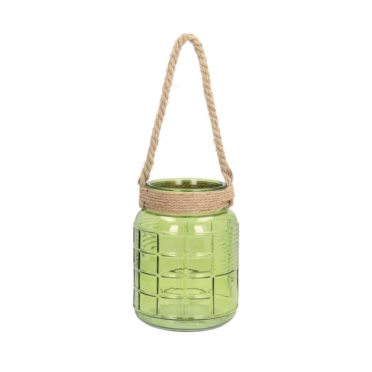 Świecznik szklany Grande green wys. 25cm