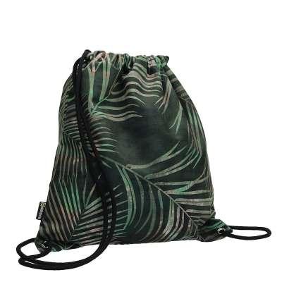 Plecak- worek Velvet 704-21 zielony w liście Kolekcja Velvet