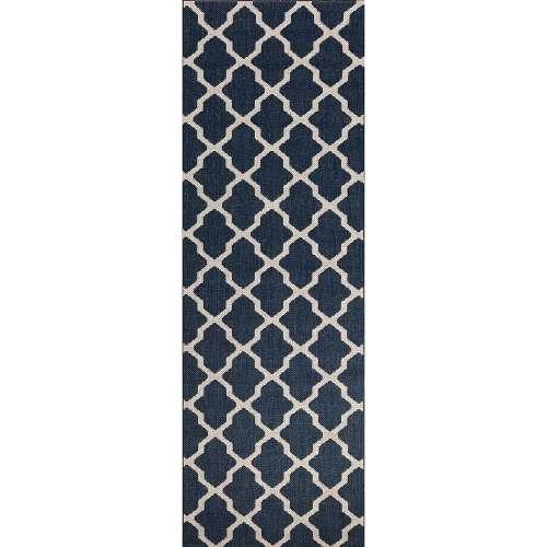 Koberec podélný Cottage blue/wool 60x180cm