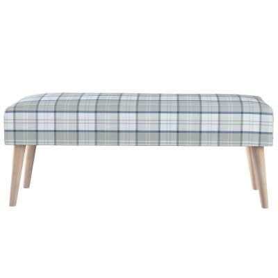Dlouhá lavička natural 100x40cm s volbou látky 143-65 kostka modro-šedá na bílém pozadí Kolekce Bristol