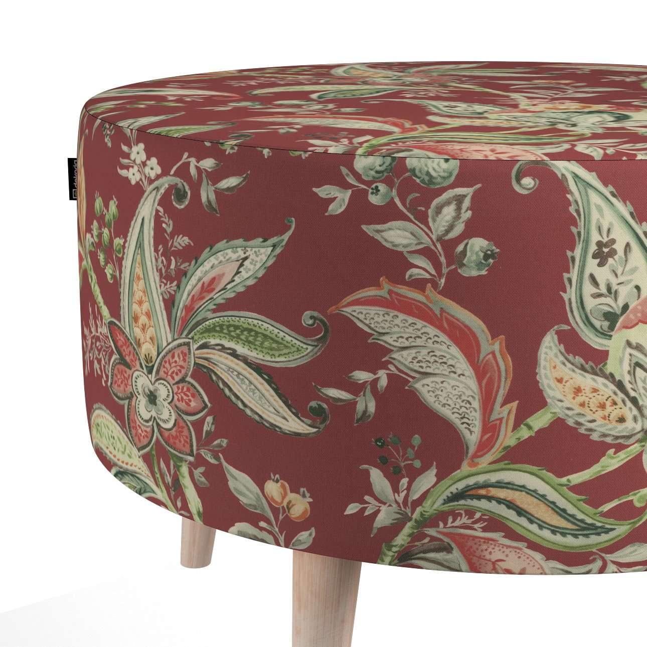 Podnóżek okrągły natural w kolekcji Gardenia, tkanina: 142-12