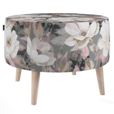 Okrúhla podnožka natural 142-13 svetlé kvety na sivom podklade so svetlo ružovou a béžovou Kolekcia Gardenia