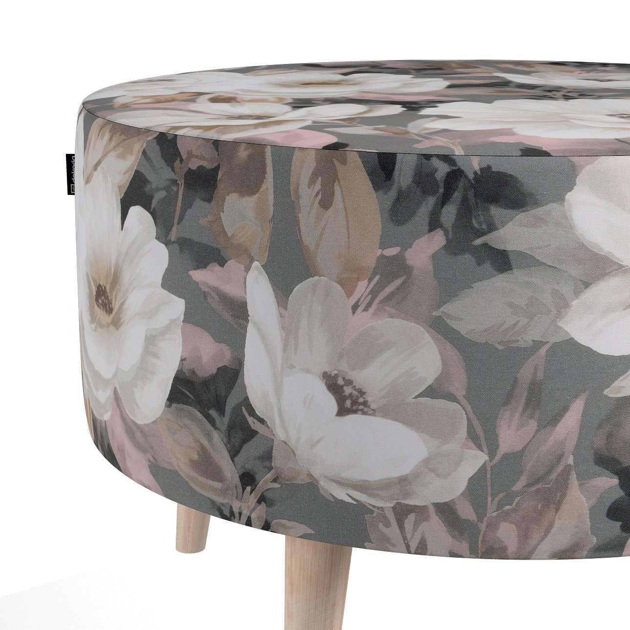 Podnóżek okrągły natural w kolekcji Gardenia, tkanina: 142-13