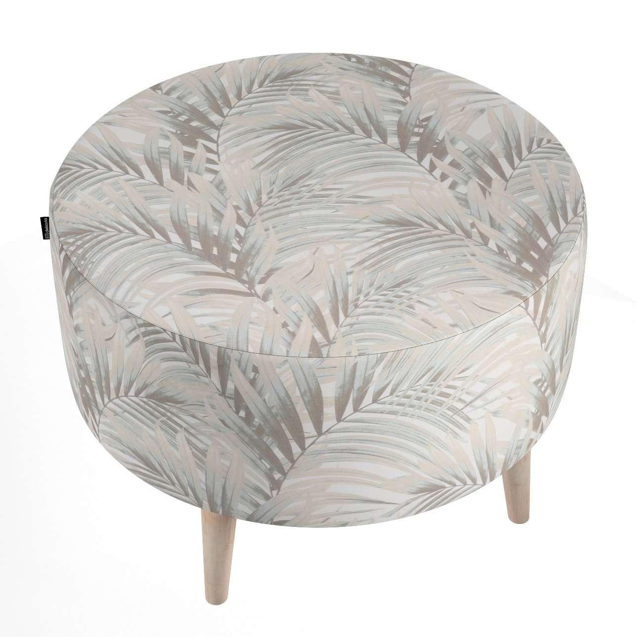 Podnóżek okrągły natural w kolekcji Gardenia, tkanina: 142-14