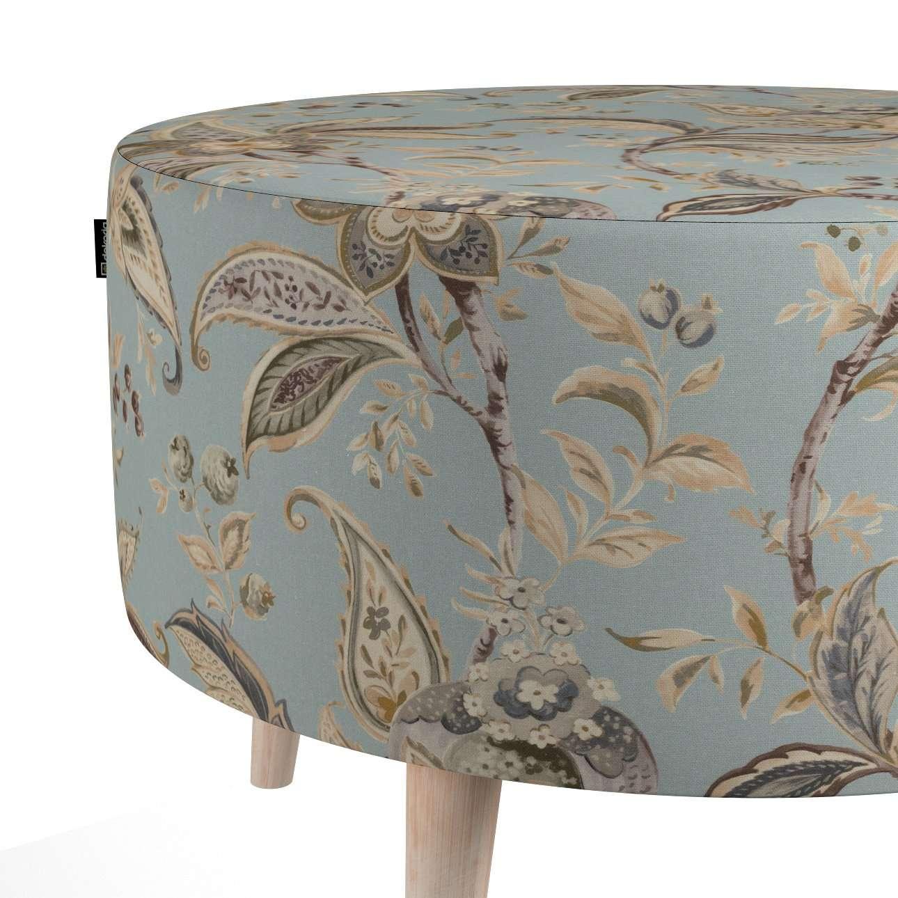 Podnóżek okrągły natural w kolekcji Gardenia, tkanina: 142-18