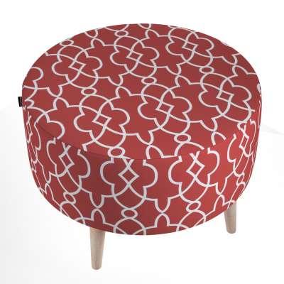 Podnóżek okrągły natural 142-21 czerwony w biały marokański wzór Kolekcja Gardenia