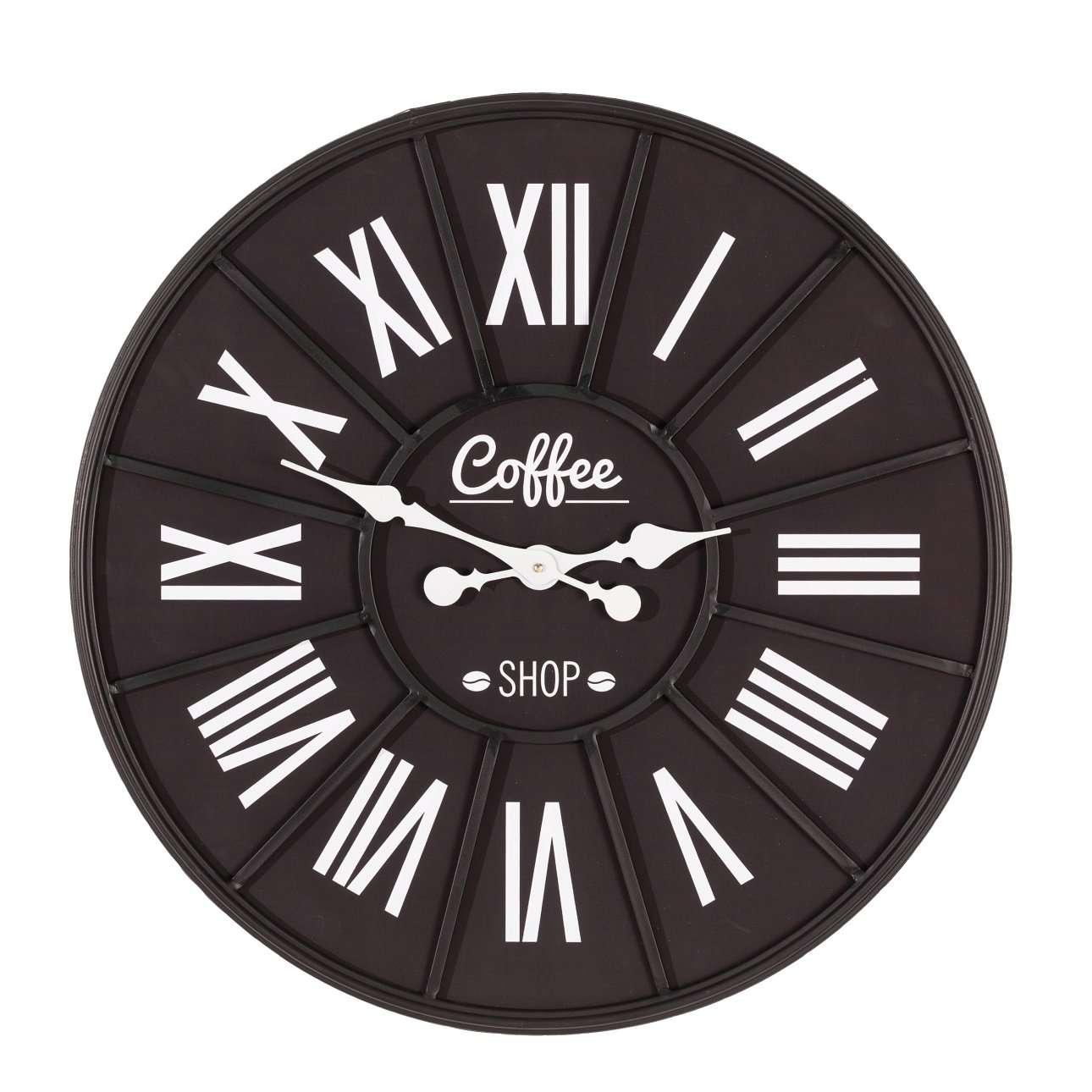 Wanduhr Coffee Shop 70cm, 70×4×70cm | Dekoration > Uhren > Wanduhren | Weiß | Metall | Dekoria