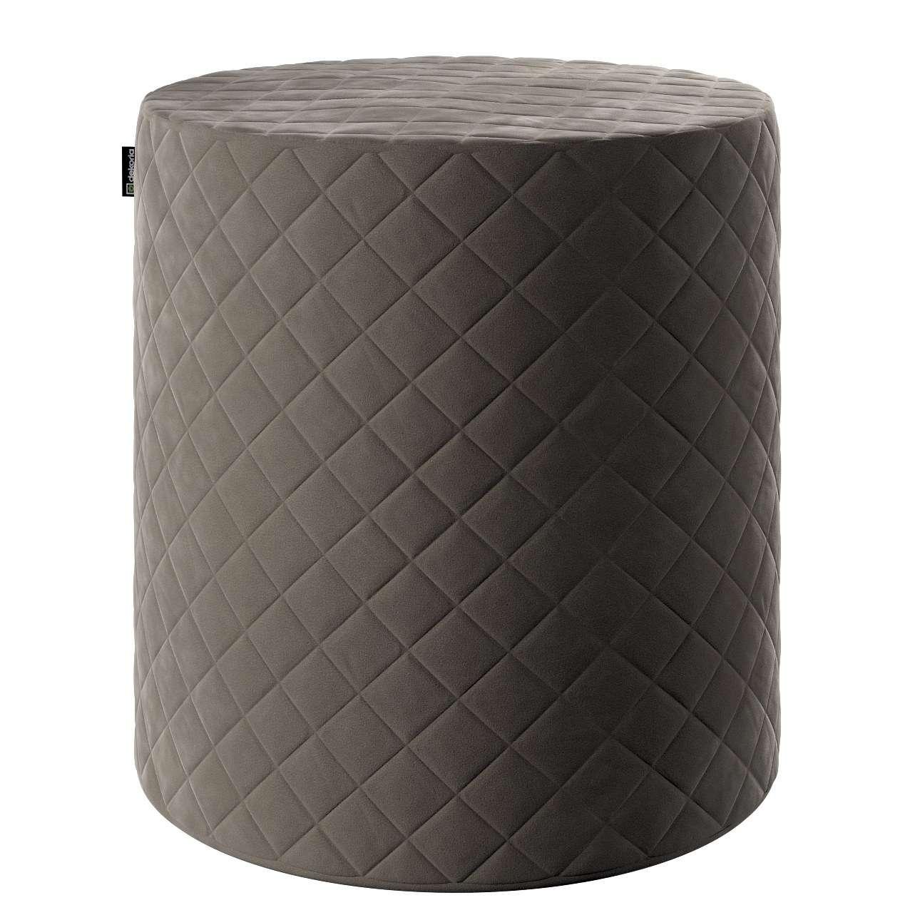 Pouf Barrel gesteppt, grau-beige, ø 40 x 40 cm, Velvet | Wohnzimmer > Hocker & Poufs > Poufs | Stoff | Dekoria