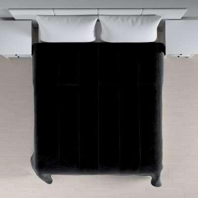 Sengetæppe quiltet<br/>25cm striper i velour 704-17 Sort Kolleksjon Velvet