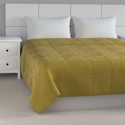 Sengetæppe quiltet<br/>25cm striper i velour 704-27 Støvgrønn Kolleksjon Velvet