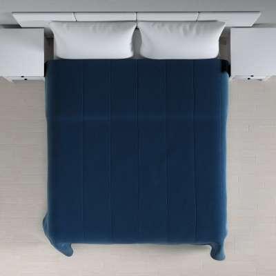 Sengetæppe quiltet<br/>25cm striper i velour 704-29 Mørkeblå Kolleksjon Velvet