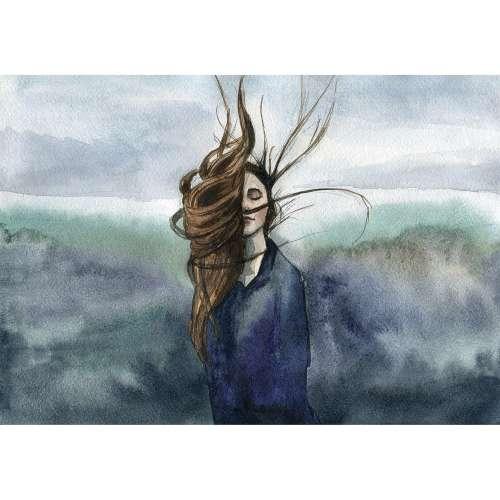 Kunstprint canvas aquarel Wind