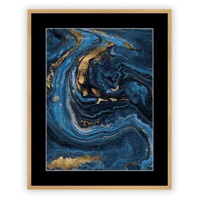 Billede med ramme Pouring blue 40x50cm Billeder med ramme - Dekoria.dk