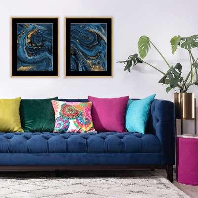 Billede med ramme Pouring blue 40x50cm