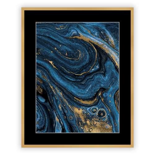 Kunstprint Abstract Blue&Gold II 40 x 50cm