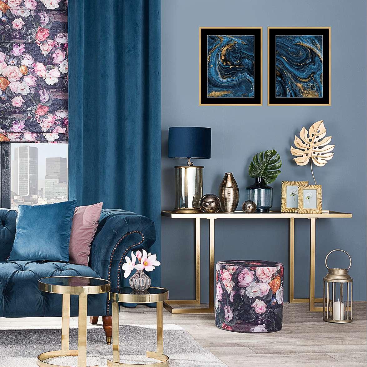 Billede med ramme Abstract Blue&Gold II 40 x 50cm