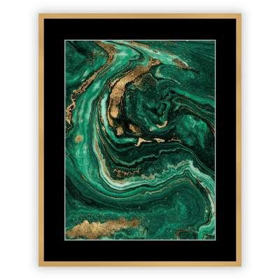 Affisch med ram Abstract Green&Gold I 40 x 50cm Affisch med ram - Dekoria.se
