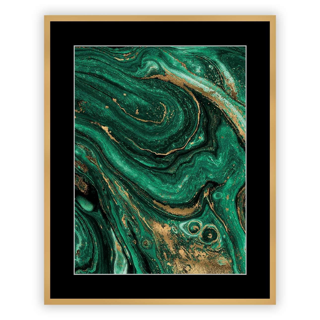 Bild Abstract Green&Gold II 40 x 50cm, 40 x 50cm | Dekoration > Bilder und Rahmen | Dekoria