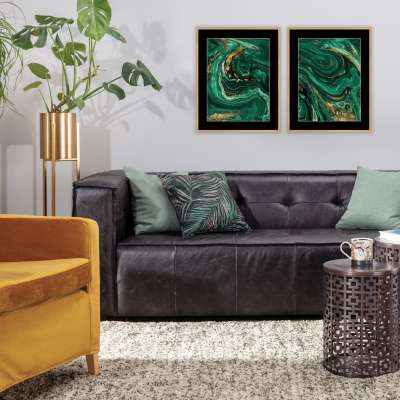 Obraz Abstract Green&Gold II 40 x 50 cm