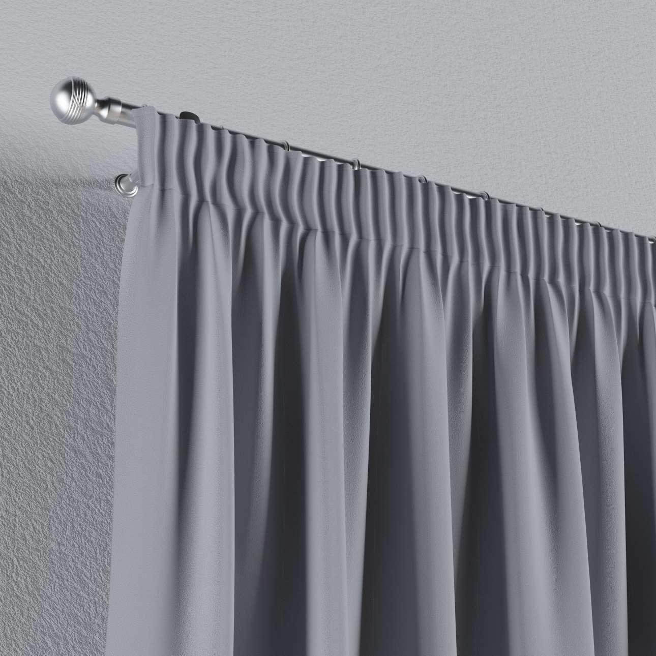 Blackout Pencil Pleat Curtains Light Grey Dekoria