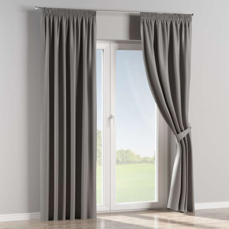 Blackout pencil pleat curtain in collection Blackout, fabric: 269-63