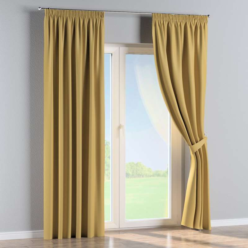Blackout pencil pleat curtain in collection Blackout, fabric: 269-68