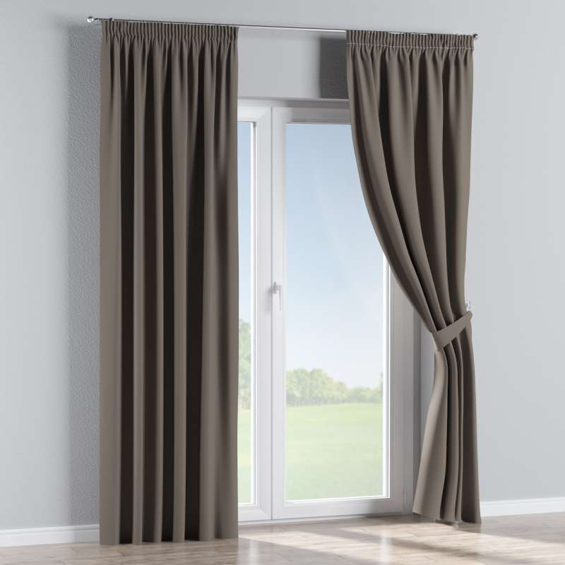 Blackout pencil pleat curtain in collection Blackout, fabric: 269-80
