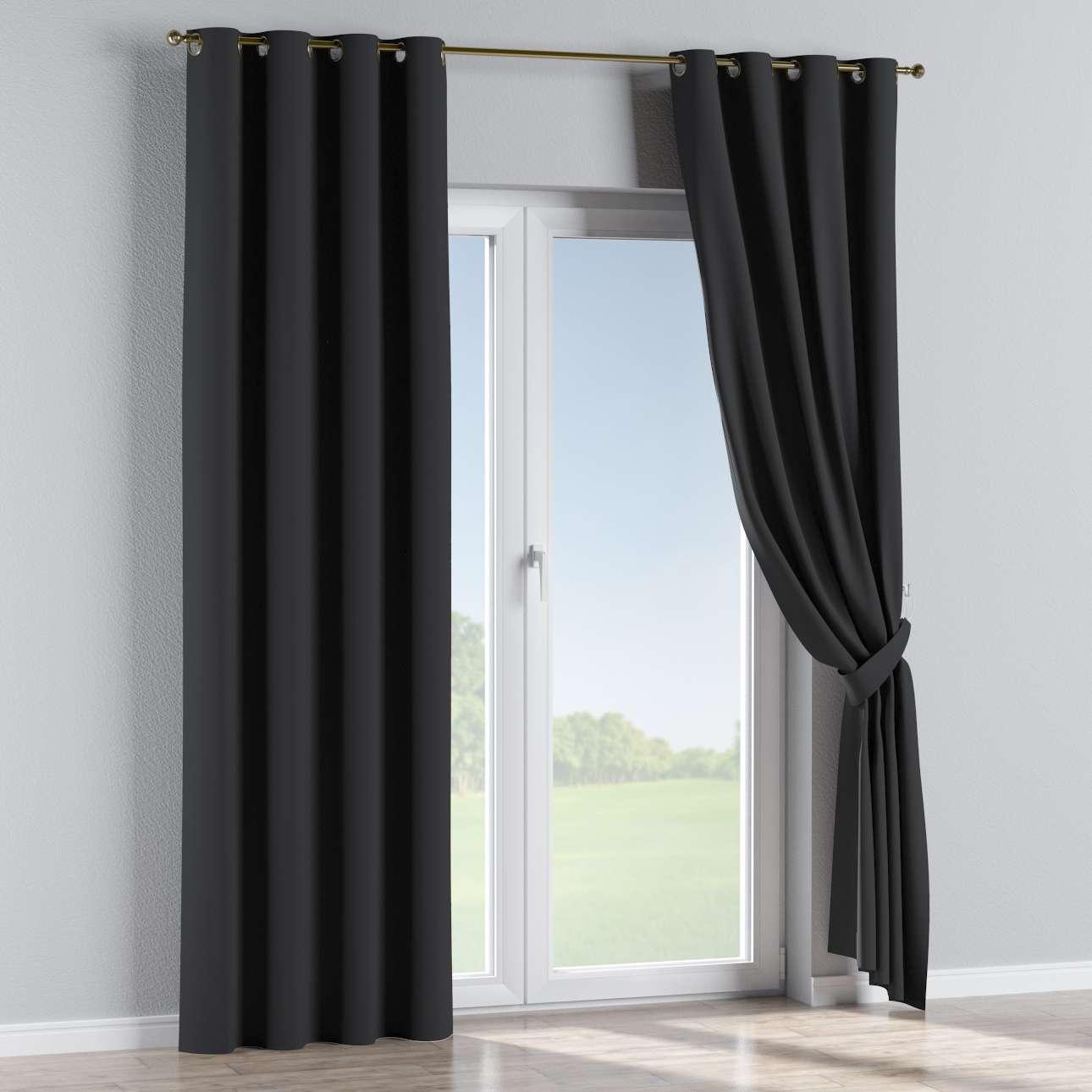 Blackout Eyelet Curtains Black Dekoria