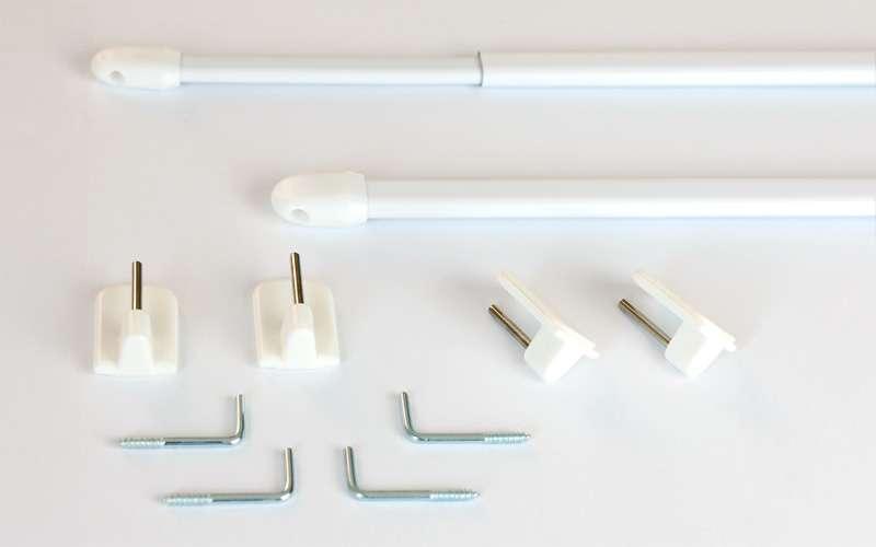 Mini gardinstænger 2 stk. hvid 40 cm