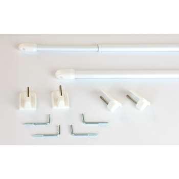 Mini gardinstænger 2 stk. hvid