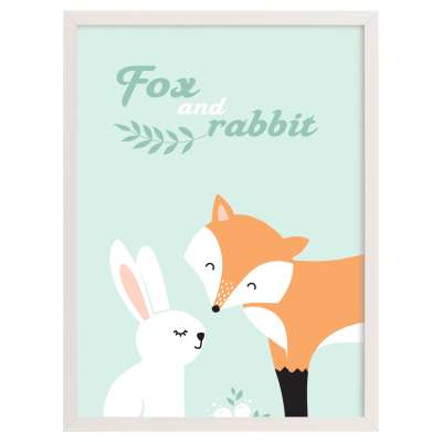 Forest Friends fox&rabbit 30x40cm
