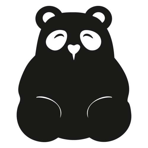 Panda meškutės lipdukas-paišymo lenta