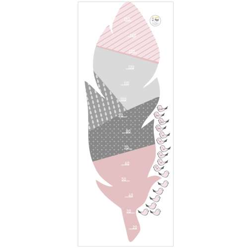 Feather rose measuring sticker