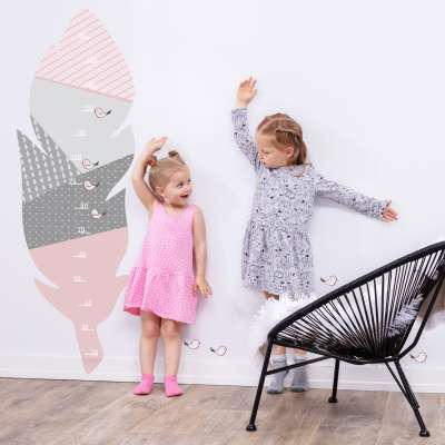 Feather rose measuring sticker Baby height stickers - Yellowtipi.uk
