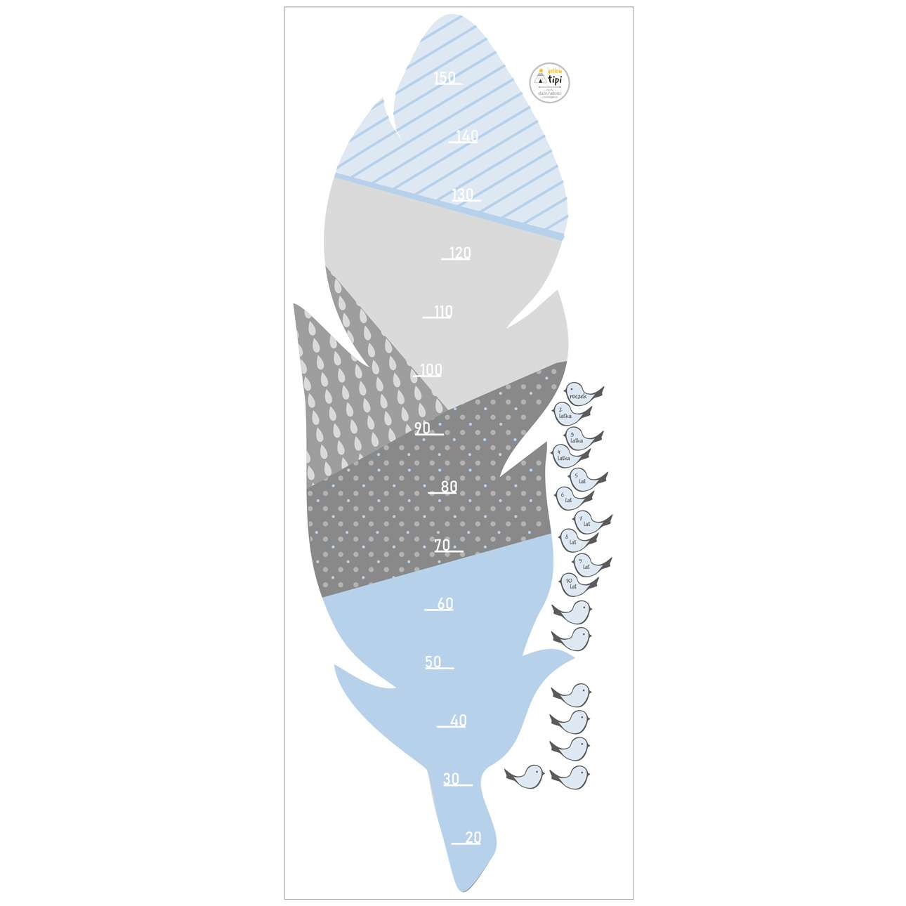 Feather blue measuring sticker