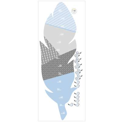 Feather blue measuring sticker Baby height stickers - Yellowtipi.uk