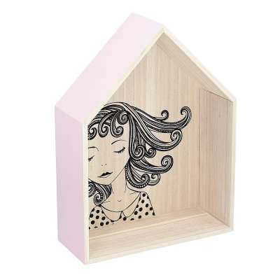 Wandregal Lovely House pink 49cm