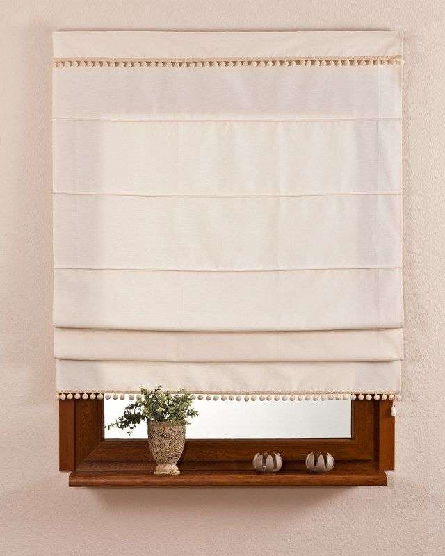 Padva roman blind with pompoms 100 x 170 cm (39.5 x 67 inch) in collection Jupiter, fabric: 127-00