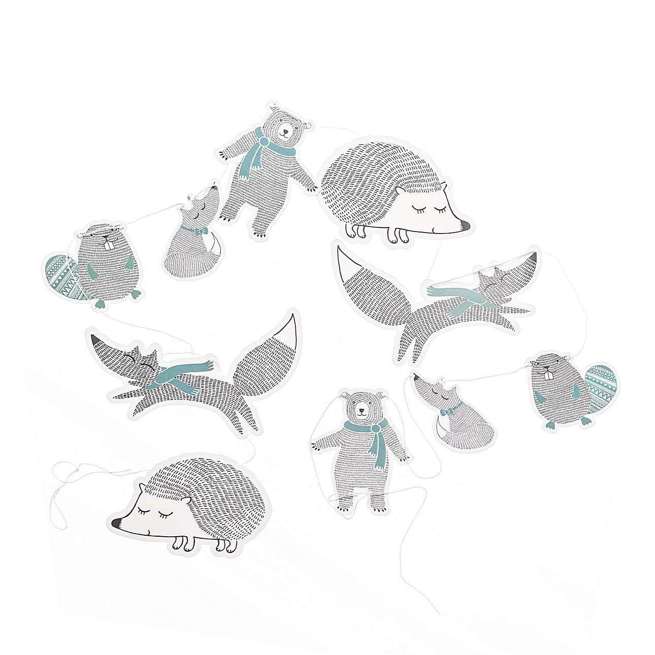 Girlanda Leśne zwierzęta niebieska